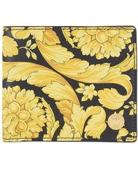 Versace Barocco Leather Wallet - Yellow