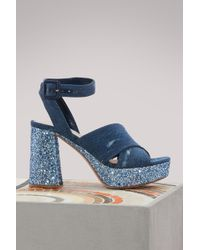 Miu Miu - Denim Sandals - Lyst