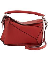 Loewe Puzzle Mini Classic Satchel Bag - Red