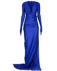 Balenciaga Low Neck Evening Set - Blue