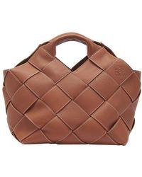 Loewe Woven Leather Basket Top Handle Bag - Brown