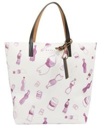 Marni Shopping Bag With Allover Pattern - Multicolour