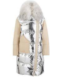 Yves Salomon Lambskin Winter Coat - Metallic