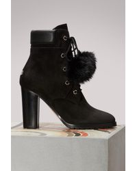 a867d9b4776 Jimmy Choo Elba Shearling-lined Suede Ankle Boots in Black - Lyst