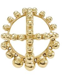 Patou Round Brooch With Pearls - Metallic