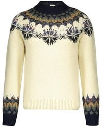 Dries Van Noten Tiles Round Neck Jacquard Knit Merino Wool Sweater - Multicolor
