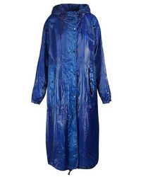 Dries Van Noten Parka oversize brillante - Bleu