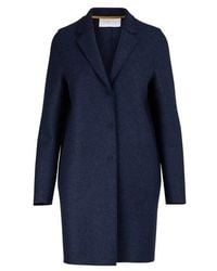 Harris Wharf London Cocoon Coat In Felted Wool - Blue