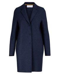 Harris Wharf London Manteau Cocoon en laine pressée - Bleu