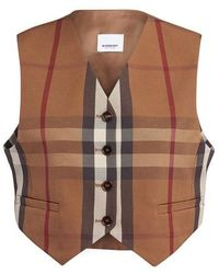 Burberry Check Print Cropped Waistcoat - Brown