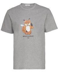 Maison Kitsuné All Right Fox T-shirt - Grey