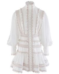 Zimmermann Embroidered Button-detailed Ramie Mini Dress - White