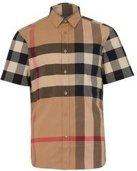 Burberry Hemd aus Stretchbaumwollpopelin mit Karomuster - Mehrfarbig