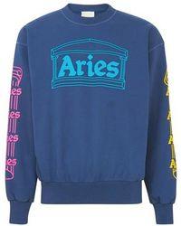 Aries Sweatshirt Column - Bleu