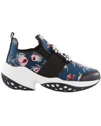 Roger Vivier Viv Run Strass Buckle Floral-print Sneakers - Blue