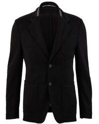 Givenchy Veste destructurée à bande - Noir