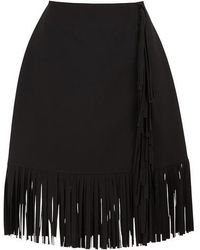 MSGM Cady Fringed Skirts - Black