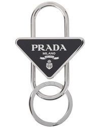 Prada Logo Split-ring Keychain - Black