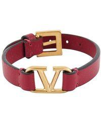 Valentino Bracelet Vlogo en cuir Garavani - Multicolore