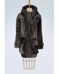 32 Paradis Sprung Freres Arctique Reversible Shearling Coat - Grey