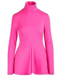 Calvin Klein Pleated Wool Jersey Top - Pink