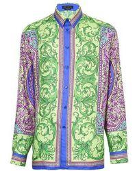 Versace Bedrucktes Hemd Le Pop Classique aus Seidentwill - Grün