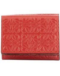 Loewe Calf Skin Logo Wallet - Red