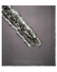 Fendi Touch Of Fur Schultertuch - Grau