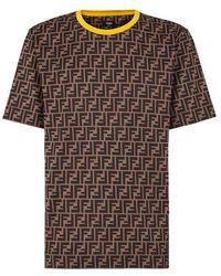Fendi T-Shirt aus Baumwolle in Braun