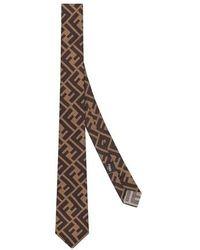 Fendi Silk Necktie - Brown