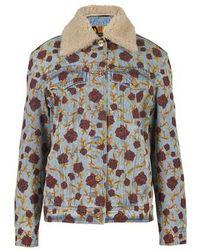 Versace Denim Jacket With Floral Print - Blue