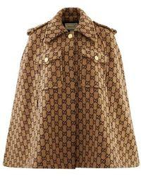Gucci GG Wool Cape - Brown