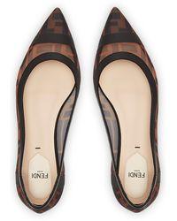 Fendi Leather And Mesh Ballerinas - Multicolour