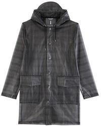 Rains Check Hooded Coat - Grey