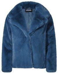 Apparis Milly Faux Fur Oversized Short Coat - Blue