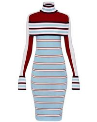 Louis Vuitton Striped Turtle Neck Knit Dress With Band - Blue