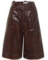 Ganni Snake Printed Leather Short - Brown