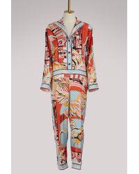 Emilio Pucci - Flamingos Silk Jumpsuit - Lyst