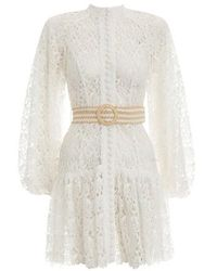 Zimmermann Robe courte ceinturée en guipure Empire - Blanc