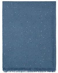 Brunello Cucinelli Cashmere And Silk Diamond Yarn Scarf - Blue
