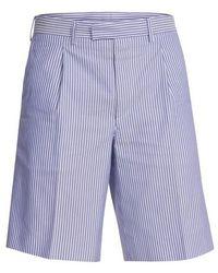 Prada Shorts oxford à rayures - Bleu