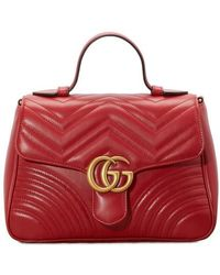 Gucci GG Marmont Small Leather Top Handle Satchel - Red