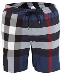 Burberry Big Check Swim Shorts - Blue
