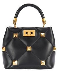 Valentino Garavani Garavani - Small Top Handle Roman Stud Bag - Black