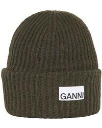 Ganni Logo Beanie - Green