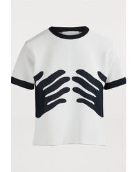Rudi Gernreich Short-sleeved Hands Top - Blue