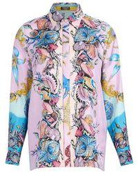 Versace Print Silk Shirt - Blue