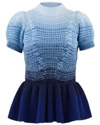 Self-Portrait Short-sleeved Sweater With Ruffles - Blue