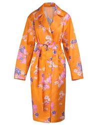 Dries Van Noten Mantel aus Mischseide - Orange