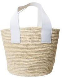 Sensi Studio Grand sac en paille - Blanc